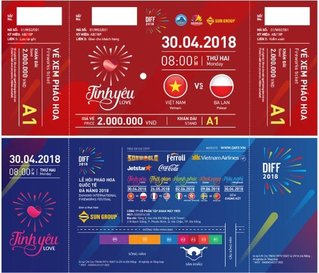 Giá vé pháo hoa Đà Nẵng 2018